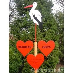 Hochzeitsbaum groß mit 3 Herzen