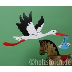 Fliegender Holzstorch mit Baby – 58 cm