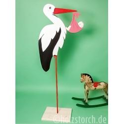 Holzstorch mit Baby und Bodenplatte – 150 cm