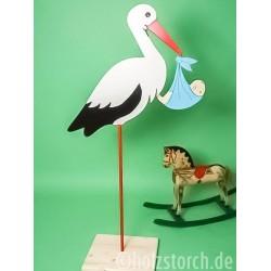 Holzstorch mit Baby und Bodenplatte – 165 cm