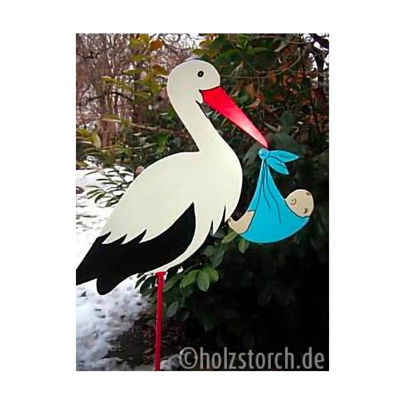 Storch zur Geburt❤HOLZSTORCH,1m Handarbeit//Mit Baby//KLAPPERSTORCH,FÜR JUNGS